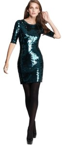 BCBGMAXAZRIA Sequin Embellished Mini Above Knee Holiday Cocktail Dress
