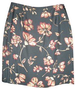Ann Taylor Silk Skirt Black/Tan/Red Floral Print