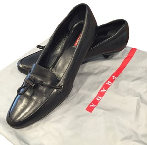Prada Leather Kitten Heels Business BLACK Pumps
