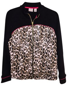 Chico's Top Black and animal print with a touch of red