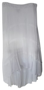 IZ Byer California-ON SALE Low High Long Gauze Summer Beach Maxi Skirt White
