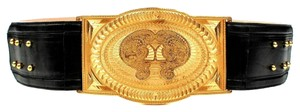 Balmain BALMAIN BELT - SMALL - S - 38 - WIDE GOLD BUCKLE BLACK LEATHER - $2500 RETAIL