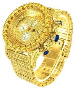 Canary Lab Diamond Bezel Date Display Dial 14k Yellow Gold Finish Jojino Watch