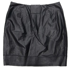 Lafayette 148 New York Leather Skirt Black