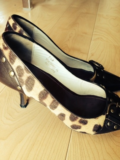 Coach Animal Studs Comfortable Leather Brown and tan & brown leopard print Pumps