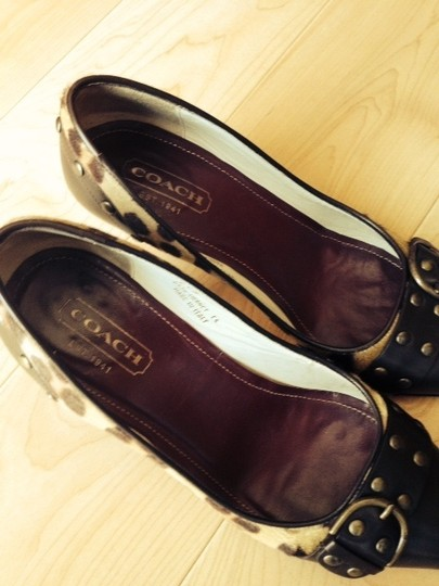 Coach Animal Studs Comfortable Leather Brown and tan & brown leopard print Pumps Image 2