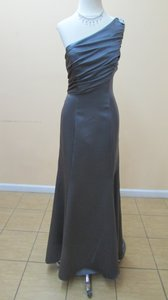 Alfred Angelo Charcoal Satin 7379l Formal Bridesmaid/Mob Dress Size 6 (S)