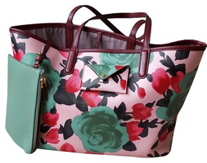 Marc Jacobs Floral Print Striped Tote in Rose