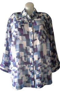 Alfred Dunner Geometric Pattern Button Down Shirt Blue