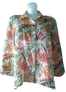 Alfred Dunner Floral Tropical Button Down Shirt Multi Color