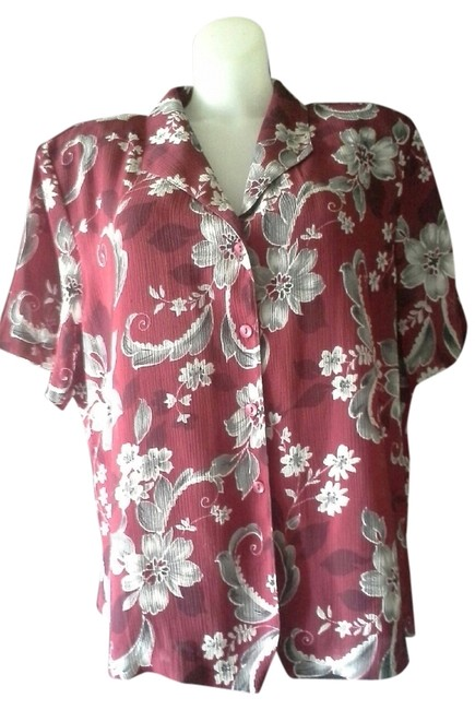 Alfred Dunner Floral Short Sleeve Polyester Button Down Shirt Red