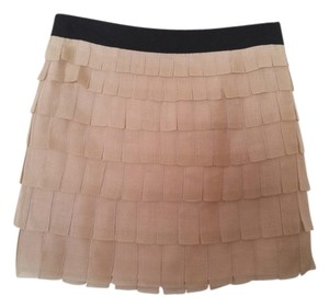 J.Crew Vintage Flapper Tiered Silk Organza Mini Skirt Nude