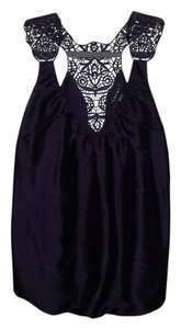 Laundry by Shelli Segal Lace-like Deep Neckline 100% Silk Top Dark Purple