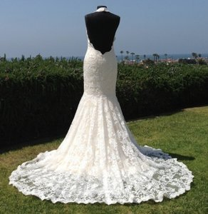 All Lace Halter Sexy Low Back Slim Mermaid Wedding Dress