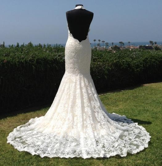 Sexy low back mermaid all lace halter slim ivory latte for Low back wedding dresses for sale