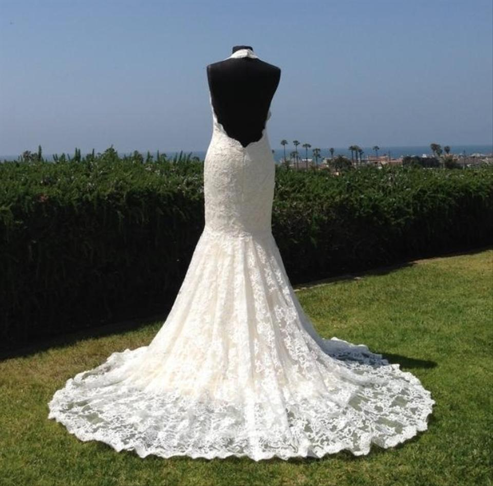 All Lace Wedding Dress: Ivory Champagne Nude Lace Low Back Mermaid All Halter Slim