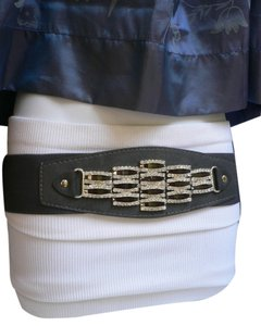 Women Waist Hip Dark Gray Fashion Elastic Stratch Belt Rhinestones Buckle S M L