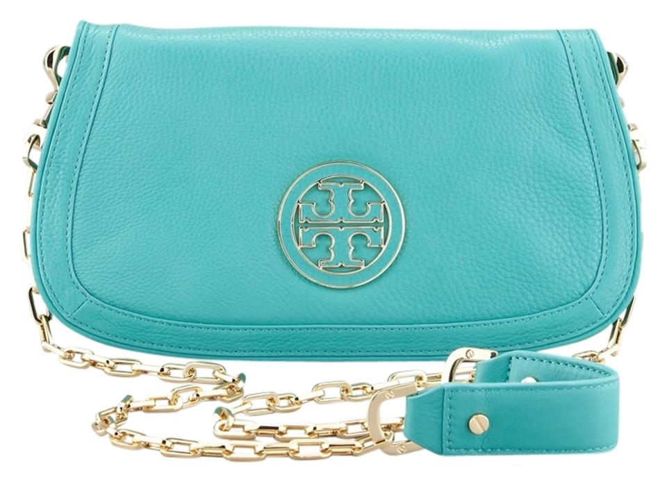 4a88bec87b Tory Burch Amanda Turquoise Gold Chain Logo Clutch Purse New Green Leather  Cross Body Bag