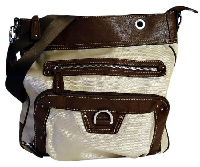 Item - Leather-like Large Cream-brown Nylon and Simulated Leather Shoulder Bag