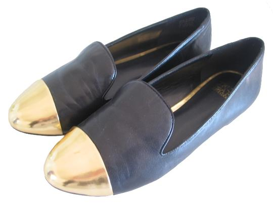 Truth or Dare by Madonna Slip-on Gold Toe Gold Capped Gold Tips Loafer Black Flats