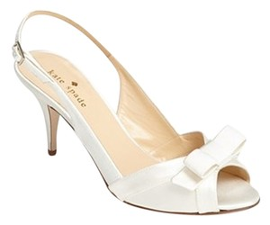 Kate Spade Bridal Wedding Bow Pumps Low Heel New Satin Ivory Sandals