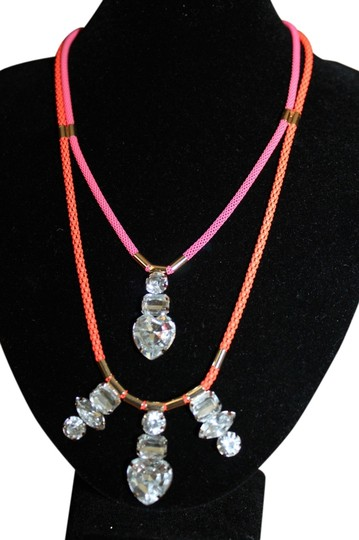 Divided by H&M H&M Neon Pink Orange Rope Dazzling Rhinestone Necklace Layered Bloggers