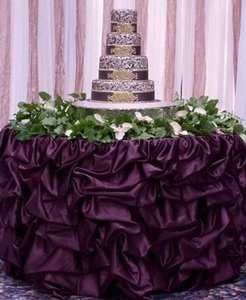 17ft Romantic Gathered Table Skirt (available In Multiple Sizes And Colors) Wedding Event Party Tablecloth Bridal Shower