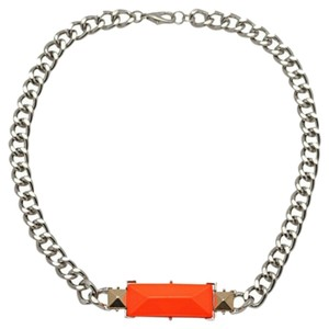 H&M H&M Trendy Conscious Herringbone Silver Chain Choker Orange Bib Necklace