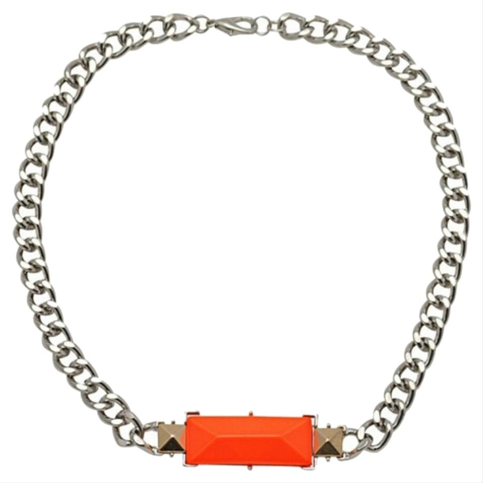 H&M Orange/Silver Trendy Conscious Herringbone Chain Choker Bib ...
