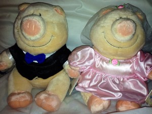 Michaels Black and Pink Pig Bride Groom Stuffed Toys