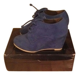 Ollio Suede Velvet Wedge Rubber Lace Blue Boots