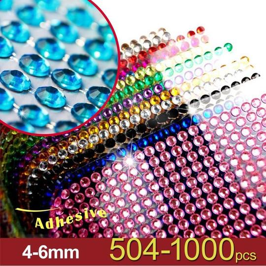Blue 10 Pieces - Bling 5040x 6mm Self Adhesive Rhinestone Crystal Bling Stickers Round Centerpieces