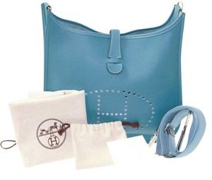 Hermès Leather Blue Palladium Clemence Evelyne Pm 29 Cm Taurillon Messenger Cross Body Messenger Bag