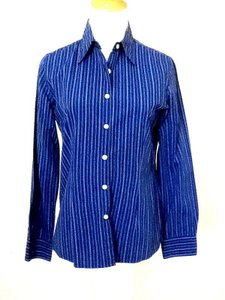 Casual Corner Striped Button Down Shirt Royal Blue
