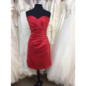 Mori Lee Red Satin Formal Bridesmaid/Mob Dress Size 12 (L)