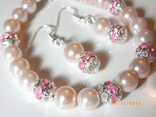 Other Sale Set Of 7 Bracelet And Earrings Bridesmaid Pink Pearl Bridesmaid Bracelet Pink Pearl Bracelet Weding Jewelry