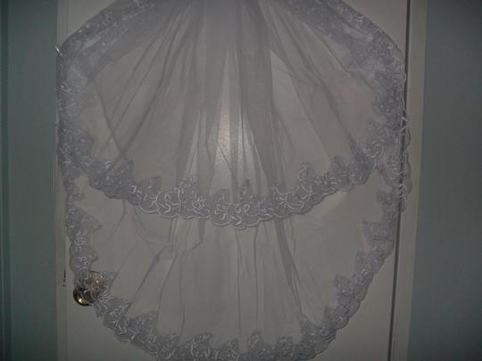 Off White Medium New 2t Tulle Lace Edge Embroider Bridal Veil
