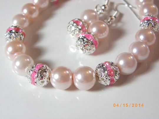Pink Sale Of 6 Bracelet and Earrings Bridesmaid Pearl Bridesmaid Bracelet Pearl Bracelet Jewelry Set