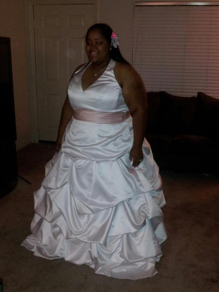 1dcb2197ef8 David s Bridal White Satin Halter Ball Gown with Pick-up Skirt - Style   Formal ...