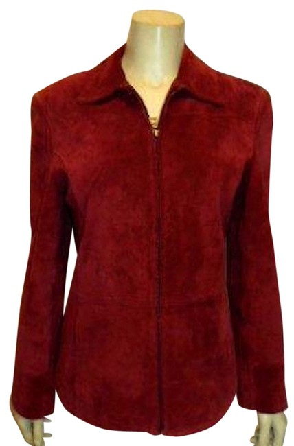 Item - Red Womens X-small Dark Zip Front Nice Cute P382 Jacket Size 2 (XS)