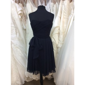 Mori Lee Navy Chiffon Casual Bridesmaid/Mob Dress Size 4 (S)
