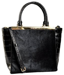Michael Kors Lana Haircalf Hair Calf Croc Embossed Leather Tote in Black