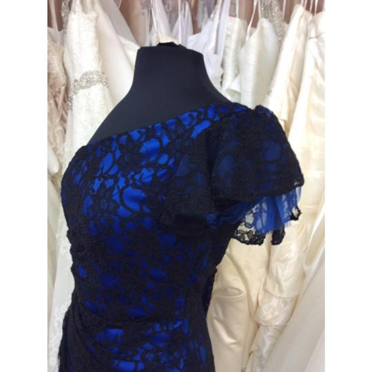 Mori Lee Black and Blue Lace Formal Bridesmaid/Mob Dress Size 10 (M) Image 2