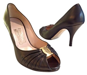 Salvatore Ferragamo Heels Peep Toe Leather Black Pumps