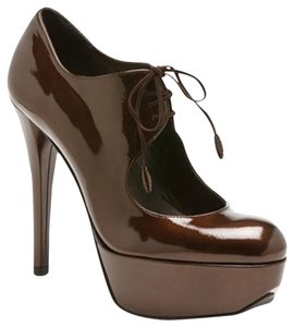 Stuart Weitzman Bootie Lace Patent Leather Boots High Heel Pump ROOTBEER ANILINE Platforms