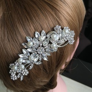 Silver/Diamond/Pearl Crystal and Comb Flower Bridesmaid Prom Vine Romantic Vtg Hair Accessory