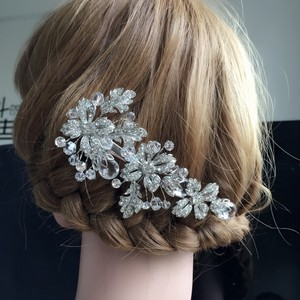 Silver Beautiful Clear Transparent Leaf Big Clip Crystal And Pearl Bridal Comb Flower Wedding Bridesmaid Prom Vine Clip