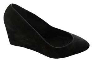 B Brian Atwood 8.5 Suede Pointed Toe Leather black Wedges