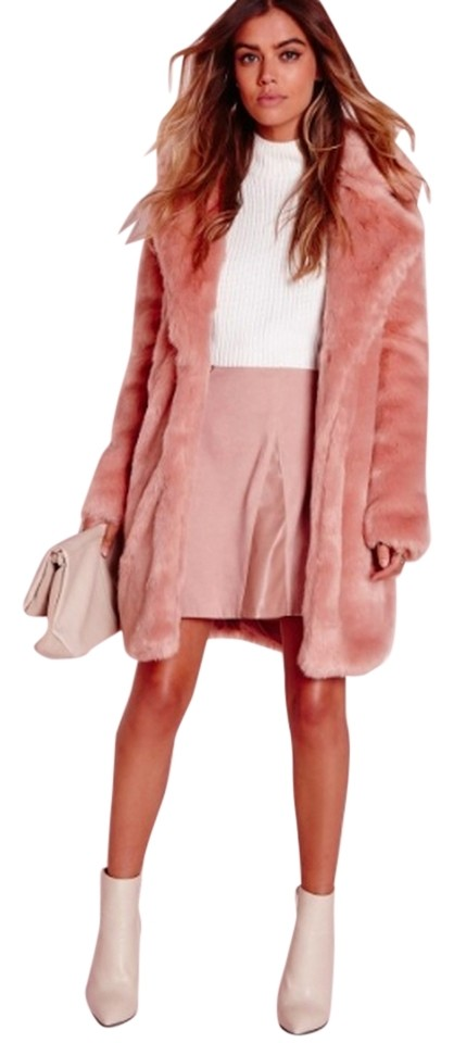 73a80778886f Missguided Mink Pink Longline Faux Coat Size 8 (M) - Tradesy