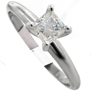 ABC Jewelry 3/4 Ct Princess Cut Diamond Solitaire Ring. All 14kt White Gold Solitaire